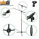 Black Microphone Stand Telescopic Adjustable Boom Arm Bulk Package inc Mic Clip