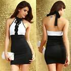 Sexy Mini Halter Black Sequin White Bodycon Formal Evening Cocktail Party Dress