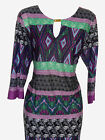 EX EVANS BLACK/PURPLE/GREEN AZTEC GOLD BAR TUNIC/DRESS - PLUS SIZE 16 - 26/28