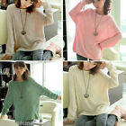 Ladies Batwing Round Neck Knitted Pullover Jumper Casual Top Blouse Sweater
