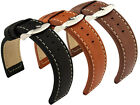 High Quality Mens Genuine Leather Watch Strap Band Havana SS Buckle 22mm