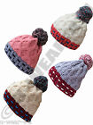 LADIES GORGEOUS FASHIONABLE CHUNKY KNIT BOBBLE HAT WOOLY WINTER GIRLS CUTE