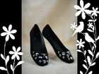 New Women Black Suede With Stud Round Toe Ballet Flat Shoes Size 5 6 7 8 9 10