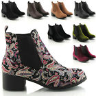 Womens Ladies Vintage Pixie Low Heel Winter Short Chelsea Ankle Boots Size 3-8