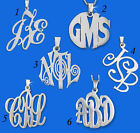 Personalized Sterling Silver Name Monogram Necklace Pendant Initial