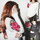 Womens Sexy Hollow Rose Shoulder Loose Sweaters Jumpers Bat Sleeve Soft Jumpers