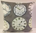 FRENCH SHABBY CHIC-STYLE GREY GREEN SINGLE CUSHION COVERS VINTAGE CLOCK FACES