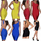 Womens Celeb V neck Cut Out Backless Open Back Bodycon Party Cocktail Mini Dress