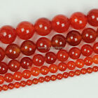 "Natural Red Agate Stone Round Loose Gemstone Beads 15.5"" 4mm 6mm 8mm 10mm 12mm"