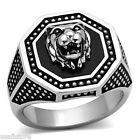 Mens Epoxy Lion Silver Stainless Steel Ring