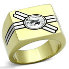 Mens Oval Crystal Double Crossing Line Gold Plated Stainless Steel Ring