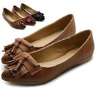 ollio Womens Ballet Tassel Bows Comfort Multi Colored Low Shoes Flats