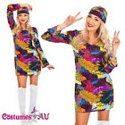 60s 70s 1060s Retro Hippie Girl Disco Dancing Costume Groovy Hens Fancy Dress