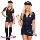 Ladies Black Police Costume Cop Officer Uniform Party Fancy Dress Outfit Hat