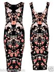 NEW LADIES WOMENS CELEBRITY SEXY LONG BLACK SLEEVELESS FLORAL PRINT MIDI DRESS