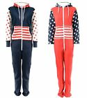 WOMENS LUCKY JOES FUN NOVELTY USA ZIP HOODED PLAYSUIT ONESIE PJs XS S M L XL
