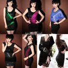 New Women V Neck Floral Lace AppliqueSleeveless Fitted Party Black Mini Dress