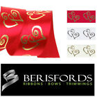 Berisfords Satin Ribbons Metallic Love Hearts, Wedding/Valentines 25mm 2 Metres