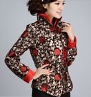 FS Black red Chinese Silk embroider Women's evening Jacket/Coat S M L XL XXL 3XL
