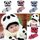 New Unisex Girl Boy Baby Toddler Infant Beanie Hat Cap Plus Scarf Panda Cartoon