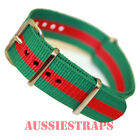 NATO G10 GREEN RED military diver's watch strap band 18mm 20mm 4 RING NYLON