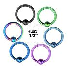 "PAIR of 14g~1/2"" with 5mm Closure Ball Titanium Anodized 316L Captive Bead Rings"