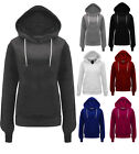WOMENS NEW LADIES HOODIE PLAIN SWEATSHIRT FLEECE HOODED JACKET PLUS SIZE 8-20