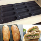 "Silicone Fiberglass 9"" French Bread Baking 12 Rolls Mold Baguette Pan Bakeware"