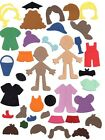 6 Die Cut sizzix Doll Body with clothes 9x6cm your choice of clothes & colours