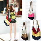 Womens Rainbow Color Stripe Canvas Square Handbag Shoulder Messenger Cross Bag