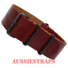 REDDISH BROWN LEATHER NATO G10 PVD Black Buckle Military Divers Watch Strap Band