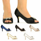 IVORY WHITE NAVY SATIN LOW HEEL BRIDAL PROM PARTY PEEP TOE SANDAL SHOES UK 3-8