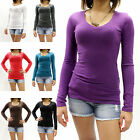 New Womens Basic Slim Fit Long Sleeve V-Neck T-Shirt Juniors Size S-XL RES2022
