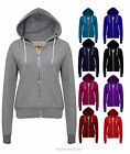 NEW LADIES QUALITY ZIP UP HOODIE PLAIN WOMENS SWEATSHIRT COAT SIZES 8 TO 20