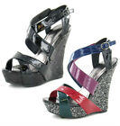 LADIES SPOT ON STRAPPY PATENT GLITTER CROSS OVER HIGH WEDGE SUMMER SANDAL F1918