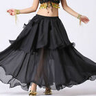 BLACK | Women Lady Hot Spiral Skirts 3 Layer Circle Belly Dance Costume Boho