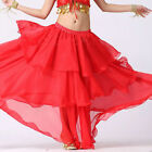 RED  Women Lady Hot Spiral Skirts 3 Layer Circle Belly Dance Costume Boho