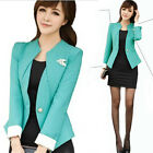 2014 Chic Stylish One Button Suit Blazer Cropped Jacket With Brooch OL Career