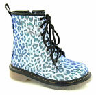 Girls Purple Leopard Lace Up Ankle Boots. H50128