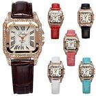6 Color DALAS Bling Crystal Square Dial Gold Case Lady Womens Quartz Wrist Watch