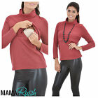 Nursing Breastfeeding Patterned Red Polo Neck Sweater Jumper Warm Top 10 12 14