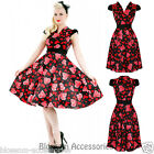 RKH21 Hearts and Roses H&R Floral Heart Rockabilly Costume Dress Vintage Swing