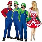 SUPER MARIO BROS MENS AND LADIES 1980's FANCY DRESS COSTUME SIZES XS-XXL