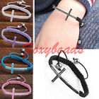 Lot Enamel Cross Sideways Macrame Friendship Woven Cord Bracelet Adjustable Gift