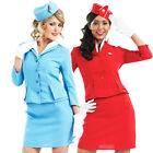 Air Hostess Cabin Crew Fancy Dress Stewardess Ladies Uniform Costume + Hat NEW