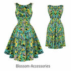 RKH30 Hearts & Roses Summer Floral Rockabilly Dress 50's Evening Vintage Swing