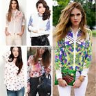 Fashion Long Sleeve Chiffon Loose Shirts Print Blouse Tops 5 Types For Woman WST