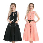 New Vintage 1950s 1960s Retro Swing Rockabilly Black Pink Party Tea Dress 8 - 24
