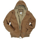 MIL-TEC HOODED MENS WORK JACKET WARM WINDPROOF COTTON CANVAS OUTDOOR COAT BROWN