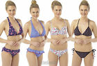 Halterneck Bikini Top and Brief/Bottoms Swimwear Size 10, 12, 14, 16 NEW